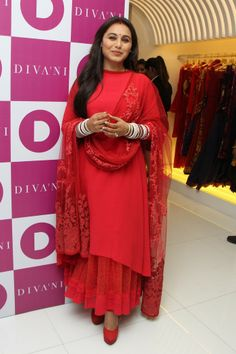 Rani Mukerji at the the opening of the ethnic wear label Diva'ni in Santacruz. #Style #Bollywood #Fashion #Beauty