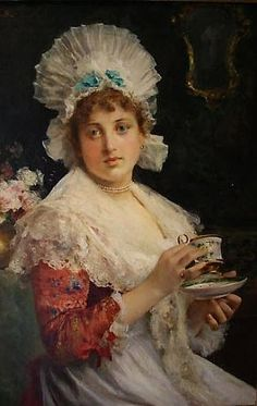 """Tea Time"" by Federico c Europe Female Portrait, Female Art, Victorian Tea Party, Flowery Wallpaper, Cuppa Tea, Tea Tins, Tea Art, Italian Artist, Afternoon Tea"