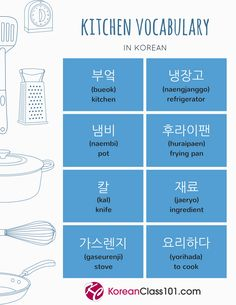 Kitchen vocabulary in Korean! Click here if you want to learn Korean from the best resources including video, audio, and pdf lessons!