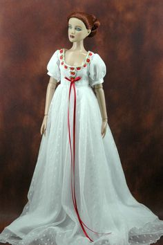 "TONNER ANTOINETTE 16"" CAMI doll clothes red white vintage dress gown"