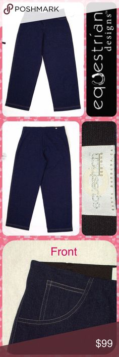 """EQUESTRIAN Blue Horse Riding Crop Jeans Breeches L Brand New with Tags! Equestrian Designs brand blue denim cropped horseback riding jeans with wide pants legs and elastic waistband for full range of motion and comfort. Light brown contrast stitching to outline pockets in the front. Hidden front zip closure. Great stretch throughout. Size Large or 10/12. Measures 33"""" around the waist (can stretch) with a 26"""" inseam. Full Length: 37"""". Equestrian Designs Jeans Ankle & Cropped"""