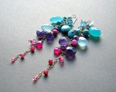 Colorful Gemstone Dangle Earrings, Aqua, Purple, Hot Pink, Long Cluster Dangle, Bright, Boho Gemstone Earrings on Etsy, $92.68 AUD