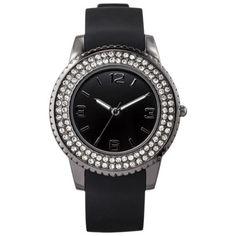 Women's Merona® Black Rubber Strap Watch with Black Glitz Case; target.com; $8.48