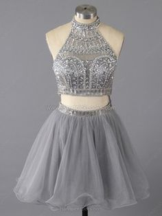 High Neck Two Piece Gray Tulle with Crystal Detailing Short/Mini Prom Dress #HPL02016369