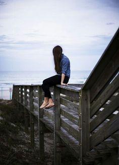 girl, sea, and alone image
