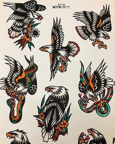 Flash von dagmar 🌥 # trflash # traditional_flash # tattoo # tattooflash # traditional # t . Traditional Tattoo Drawings, Traditional Eagle Tattoo, Traditional Tattoo Old School, Traditional Tattoo Design, Traditional Flash, American Traditional, Flash Art Tattoos, Tattoo Flash Sheet, 16 Tattoo