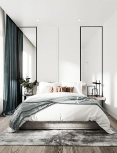 Grey Bedroom Ideas - Leading 10 Relaxing Grey Bedroom Ideas that You Will Certainly Adore. Top 10 Fascinating Grey Bedroom Ideas for Sweet Dreams. A Crisp and also Classy Design Bedroom with Tidy Blac Modern Bedroom Design, Contemporary Bedroom, Home Interior Design, Modern Master Bedroom, Modern Bedrooms, Beds Master Bedroom, Modern Bedroom Lighting, Calm Bedroom, White Bedrooms
