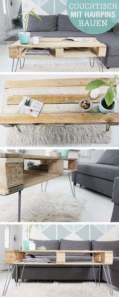 DIY guide for a pallet coffee table with hairpin legs, furniture selfba . - DIY tutorial for a pallet coffee table with hairpin legs, DIY furniture / diy tutorial: couch table - Diy Furniture Table, Pallet Furniture, Furniture Plans, Living Room Furniture, Home Furniture, Furniture Design, Couch Table, Table Legs, Diy Casa