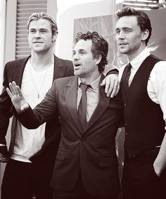 Chris Hemsworth, Mark Ruffalo, and Tom Hiddleston. For some reason this picture makes the fact that he whooped both of their asses in the movie even funnier.