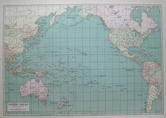 1942 PACIFIC OCEAN Map RARE Size Gallery Wall Art by plaindealing