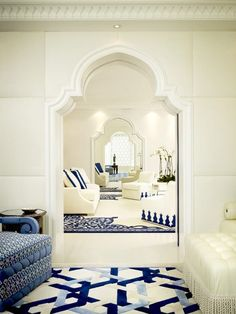 blue and white in exotic setting