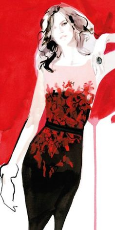 David Downton fashion illustration on ArtLuxe Designs. #artluxedesigns