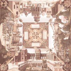 Российские обои для потолка Loymina коллекция Ceiling Illusion vol. II Коричневый Бежевый Город