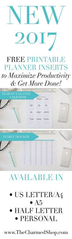 GRAB YOUR FREE 2017 PRINTABLE PLANNER/CALENDAR INSERTS! Available in US Letter, A4, A5, Half Letter & Filofax Personal size!