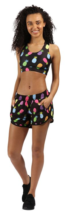 Rock The Tropical Look In Tikiboo's Pineapple Party Loose Fit Workout Shorts Featuring A Bright Pineapple Print On A Dark Base. Ideal For All Sports And Holiday Fun! Soft Shorts, Fitted Suit, Pineapple Print, Sporty Style, Suits You, Workout Shorts, Loose Fit, Holiday Fun, Skater Skirt