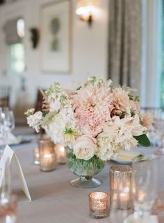 Blush Wedding Centerpiece // low and lush, roses, dahlias, astilbe, white, mercury glass, romantic