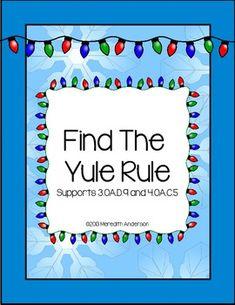 Find the Yule Rule! Holiday Math Fun FREEBIE!