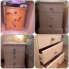Annie Sloan Old White Chalk paint, new drawer knobs and drawer liner to refresh old pine bedside tables #upcycle #chalkpaint #projects