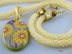 Yellow Kumihimo Necklace Daisy Floral by TheLittleEmptyNest