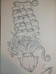 """Ship and octopus tattoo design. """"Sometimes what's eating you inside is what's keeping you alive"""""""