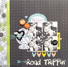 Road Trippin' ***American Crafts*** - Scrapbook.com  Last, but certainly not least, we love the collage of black and white photos in this layout by Ashleyhorton010675. The pops of color really stand out against this mostly black and white layout.
