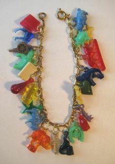 1940's Vintage Plastic WWII Era Good Luck Charm Bracelet Cracker Jack   eBay