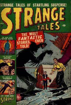 Strange Tales Carl Burgos & Don Rico, ill. Old Comic Books, Comic Book Pages, Vintage Comic Books, Comic Book Covers, Comic Book Characters, Vintage Comics, Old Comics, Marvel Comics, Marvel Vs