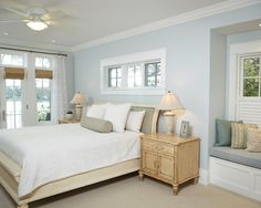 Bedroom Design, Traditional Bedroom Design With Conventional Window Bed Also Light Blue Sky Wall Paint Color With Teak Wooden Blonde Night Table With White Antique Wall Paint Color Also Beige Classic Double Bed Frame: Ideas for Choosing the Right Bedroom Window Treatments
