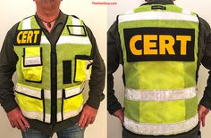This CERT high visibility vest with pockets is ideal for public safety, traffic safety, CERT, surveyors, roadside workers, tactical, and other positions that require being seen in low light and/or from a distance. This vest exceeds minimum requirements for ANSI II. TheVestGuy.com