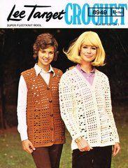 Lee Target 8949 ladies waistcoat and cardigan vintage crochet pattern