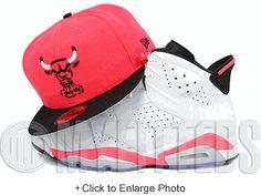 Chicago Bulls Infrared Bliss Jet Black Trace Air Jordan VI All Infrared Matching New Era Hat