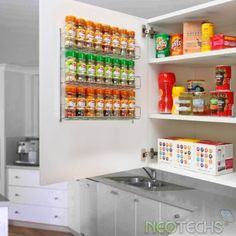 Neotechs® 24pc Chrome 3 Tier Spice Rack Jar Holder for Wall or Kitchen Cupboard