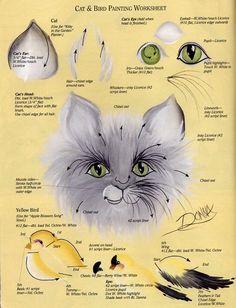 Cat & Bird Painting Worksheet