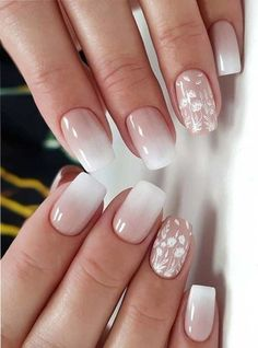 Ombre nails are everywhere these days. Ombre nails are eye-catching and personalized, and can be subtle as you want. I like a soft pastel ombre fade that is suitable for everyday use or glitter ombre nails for special occasions such as weddings. French Nail Designs, Ombre Nail Designs, Nail Designs Spring, Nail Art Designs, Lace Nail Design, Wedding Nails Design, Nail Wedding, Bridal Nail Art, Lilac Wedding
