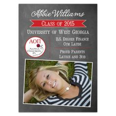 Alpha Omicron Pi Chalk Grad Announcements from Paper Style | Your college years have been great, in part due to the involvement of your sorority! Celebrate your graduation in style with these AOPi graduation announcements!