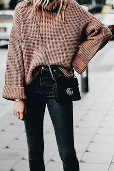 2019 Fashion Outfit Ideas - New Coffee Print Polo Neck Long Sleeve Fashion Pullover Sweater - Outfit - Wintermode Mode Outfits, Fall Outfits, Casual Outfits, Fashion Outfits, Fashion Trends, Fashion Ideas, Fashion Clothes, Women's Casual, Fashion Styles