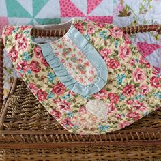 Quilted baby bib with applique heart - Vintage to new