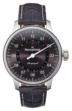 MeisterSinger 'Perigraph' Automatic Single Hand Leather Strap Watch, 43mm available at #Nordstrom
