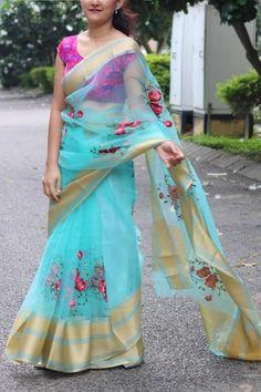 Designer Saree with blouse piece- Indian Organza Saree Partywear Designer Embroidery fabric Indian d Sari Blouse Designs, Dress Neck Designs, Designs For Dresses, Organza Saree, Net Saree, Indian Gowns, Indian Wear, Saree Dress, Saree Blouse