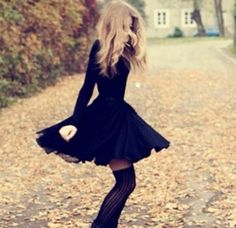 Black skater dress and thigh highs i want this to be my new style :)