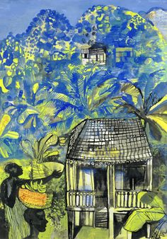 John Minton (British, Banana Plantation, Wash, pen and ink and gouache, x cm. Barbados, Jamaica, John Minton, Royal College Of Art, American Artists, British Artists, French Artists, Land Scape, Painting Inspiration