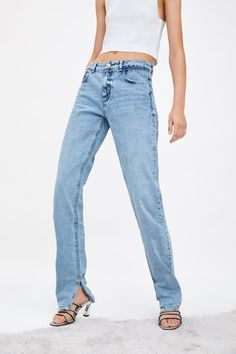 ZARA - Female - Slim fit hi-rise jeans - Blue - 25 (us Loose Fit Jeans, High Waist Jeans, New York Shopping, Live In Style, Slim, Zara United States, Mom Jeans, Fitness