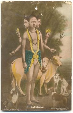 Dattatraya Old photograph printed in Germany Shiva Art, Shiva Shakti, Guru Wallpaper, Lord Shiva Pics, Lord Vishnu Wallpapers, Lord Shiva Painting, Lord Murugan, Hindu Dharma, Om Namah Shivaya