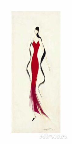 Lady in Red II Affiche par Marilyn Robertson sur AllPosters.fr