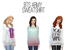 For all fans of the kpop group BTS, ARMY! Found in TSR Category 'Sims 4 Female Everyday'
