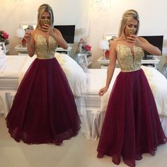 Elegant Charming Long Evening Dress 2015 New Arrival Formal Dresses Sheer Sexy Gold Appliques A-Line Burgundy Dress Party Evening Dress 2015, Evening Dresses, A Line Prom Dresses, Formal Dresses, Short Hair Dont Care, Beaded Prom Dress, Dress Prom, Beaded Lace, Cocktail Gowns
