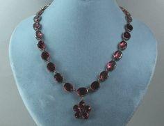 Antique Georgian Gold  Garnet Paste Reviere Necklace