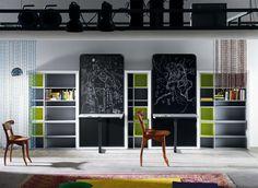 Habitación juvenil con dos camas abatibles verticales blink