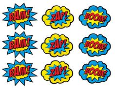 PRINTABLE Superhero Boom, Bam, Zap, Pow, and Pop Toppers.