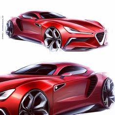 Alfa Romeo by David Schneider Car Design Sketch, Car Sketch, Alfa Romeo, Car Drawings, Transportation Design, Automotive Design, Car Photos, Amazing Cars, Fast Cars